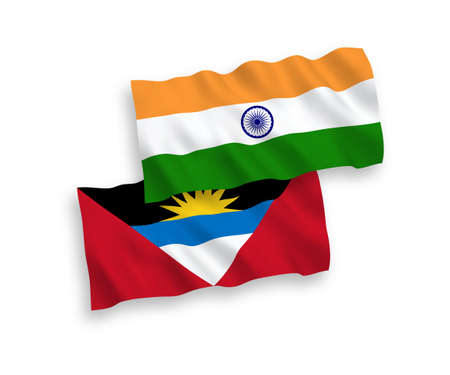 National vector fabric wave flags of India and Antigua and Barbuda isolated on white background. 1 to 2 proportion.