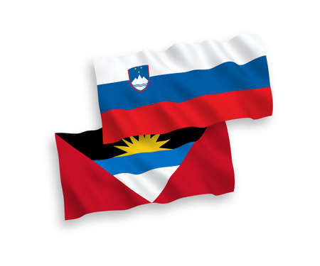National vector fabric wave flags of Slovenia and Antigua and Barbuda isolated on white background. 1 to 2 proportion.