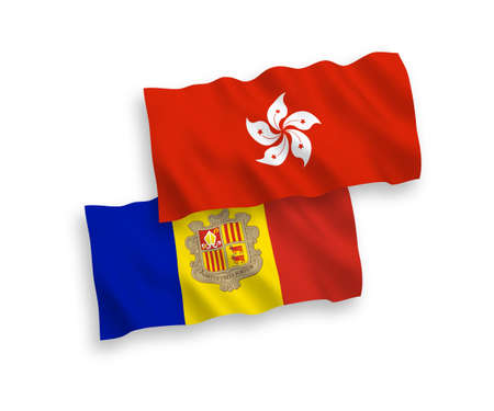 National vector fabric wave flags of Andorra and Hong Kong isolated on white background. 1 to 2 proportion.