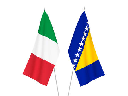 National fabric flags of Italy and Bosnia and Herzegovina isolated on white background. 3d rendering illustration. 版權商用圖片