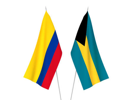 National fabric flags of Colombia and Commonwealth of The Bahamas isolated on white background. 3d rendering illustration.