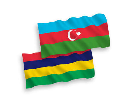 National vector fabric wave flags of Azerbaijan and Republic of Mauritius isolated on white background. 1 to 2 proportion.