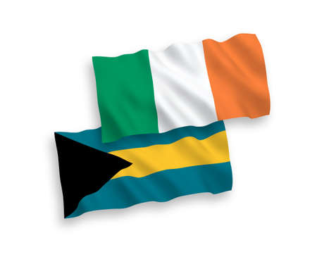 National vector fabric wave flags of Ireland and Commonwealth of The Bahamas isolated on white background. 1 to 2 proportion.