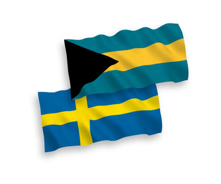 National vector fabric wave flags of Sweden and Commonwealth of The Bahamas isolated on white background. 1 to 2 proportion. 矢量图像