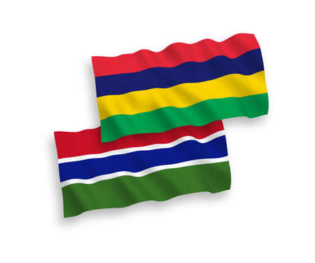 National vector fabric wave flags of Republic of Gambia and Republic of Mauritius isolated on white background. 1 to 2 proportion.