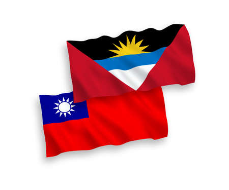 National vector fabric wave flags of Antigua and Barbuda and Taiwan isolated on white background. 1 to 2 proportion.