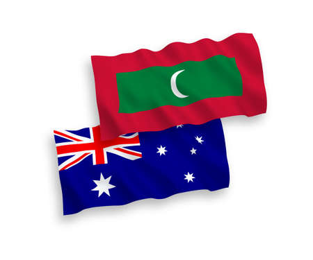 National vector fabric wave flags of Australia and Maldives isolated on white background. 1 to 2 proportion.
