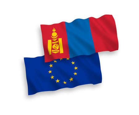 National vector fabric wave flags of European Union and Mongolia isolated on white background. 1 to 2 proportion.