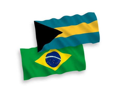 National vector fabric wave flags of Brazil and Commonwealth of The Bahamas isolated on white background. 1 to 2 proportion.