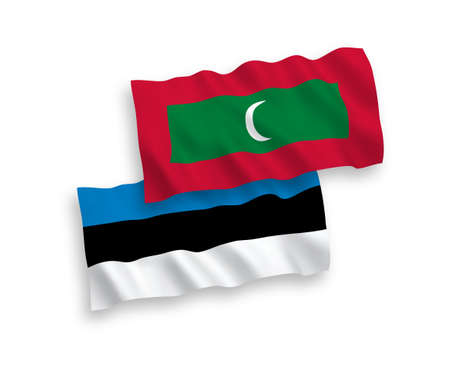 National vector fabric wave flags of Estonia and Maldives isolated on white background. 1 to 2 proportion. Иллюстрация