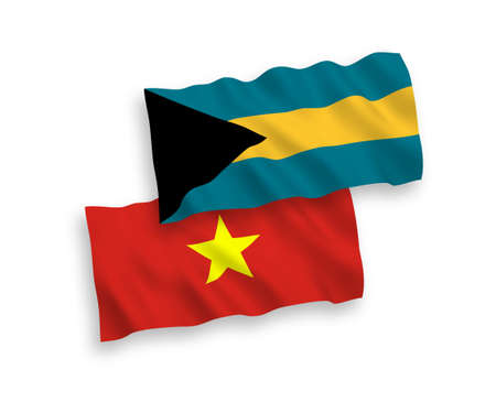 National vector fabric wave flags of Commonwealth of The Bahamas and Vietnam isolated on white background. 1 to 2 proportion.
