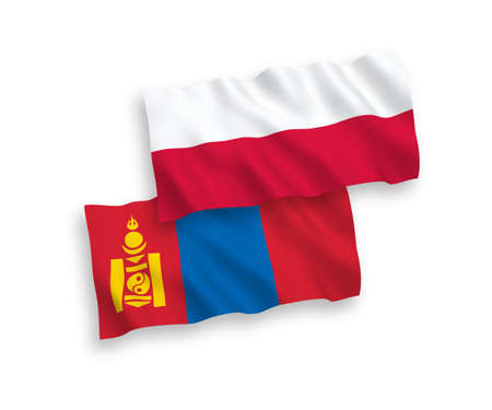 National vector fabric wave flags of Mongolia and Poland isolated on white background. 1 to 2 proportion.