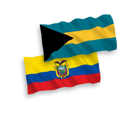 National vector fabric wave flags of Commonwealth of The Bahamas and Ecuador isolated on white background. 1 to 2 proportion.