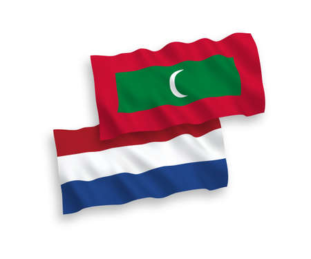 National vector fabric wave flags of Maldives and Netherlands isolated on white background. 1 to 2 proportion.