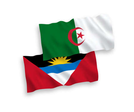 National vector fabric wave flags of Antigua and Barbuda and Algeria isolated on white background. 1 to 2 proportion.