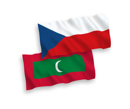 National vector fabric wave flags of Czech Republic and Maldives isolated on white background. 1 to 2 proportion.
