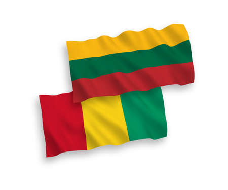 National vector fabric wave flags of Lithuania and Guinea isolated on white background. 1 to 2 proportion.
