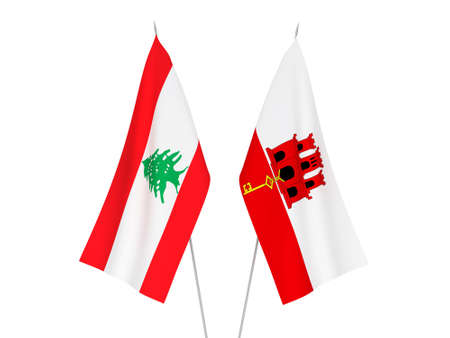 National fabric flags of Gibraltar and Lebanon isolated on white background. 3d rendering illustration.