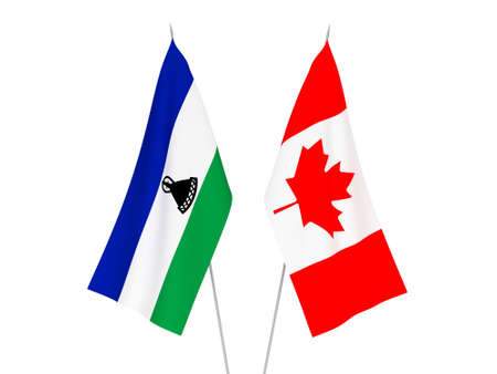 National fabric flags of Lesotho and Canada isolated on white background. 3d rendering illustration.