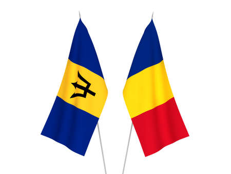 National fabric flags of Romania and Barbados isolated on white background. 3d rendering illustration. 版權商用圖片