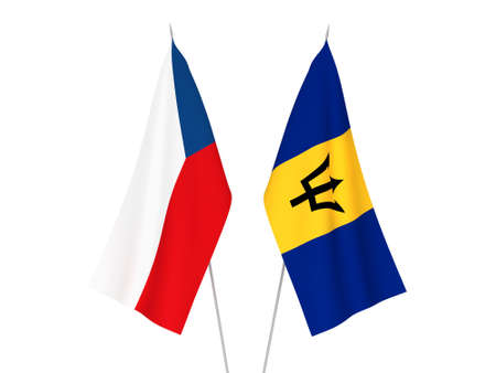 National fabric flags of Barbados and Czech Republic isolated on white background. 3d rendering illustration.