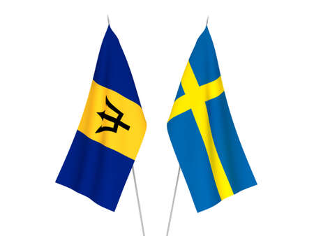 National fabric flags of Sweden and Barbados isolated on white background. 3d rendering illustration. 版權商用圖片