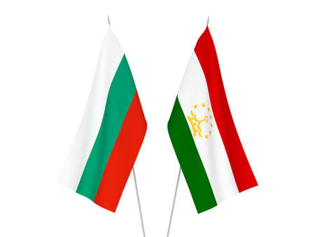 National fabric flags of Bulgaria and Tajikistan isolated on white background. 3d rendering illustration.