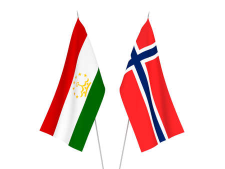 National fabric flags of Norway and Tajikistan isolated on white background. 3d rendering illustration.