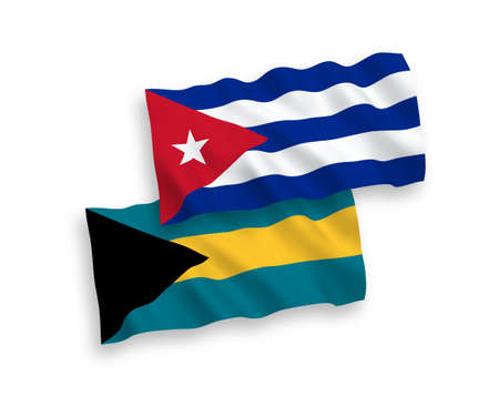 National vector fabric wave flags of Commonwealth of The Bahamas and Cuba isolated on white background. 1 to 2 proportion.