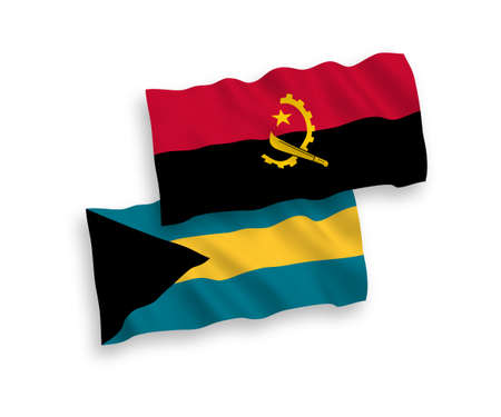 National vector fabric wave flags of Commonwealth of The Bahamas and Angola isolated on white background. 1 to 2 proportion.
