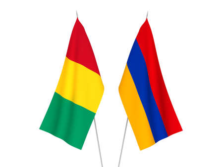 National fabric flags of Armenia and Guinea isolated on white background. 3d rendering illustration. 版權商用圖片