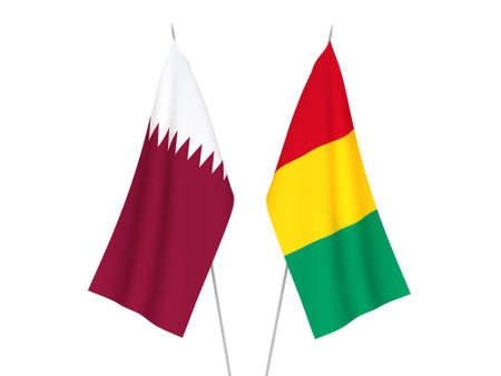 National fabric flags of Qatar and Guinea isolated on white background. 3d rendering illustration.