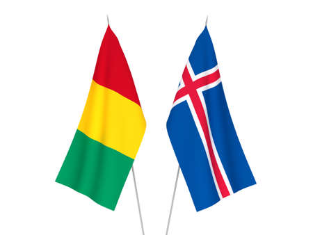 National fabric flags of Iceland and Guinea isolated on white background. 3d rendering illustration.