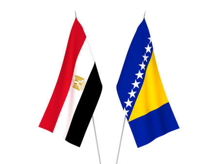 National fabric flags of Egypt and Bosnia and Herzegovina isolated on white background. 3d rendering illustration.