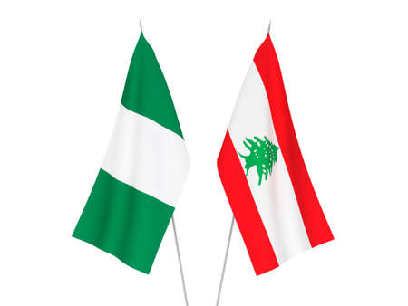 National fabric flags of Nigeria and Lebanon isolated on white background. 3d rendering illustration.