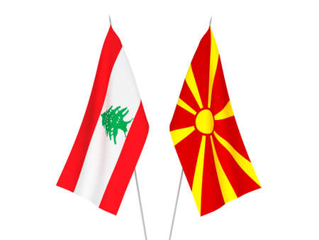 National fabric flags of North Macedonia and Lebanon isolated on white background. 3d rendering illustration.