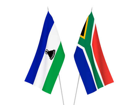 National fabric flags of Republic of South Africa and Lesotho isolated on white background. 3d rendering illustration.