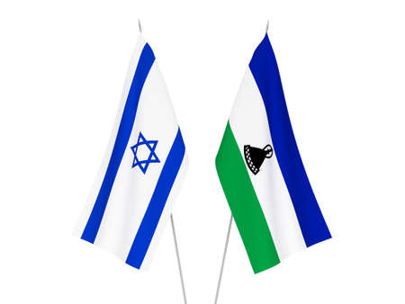 National fabric flags of Lesotho and Israel isolated on white background. 3d rendering illustration.