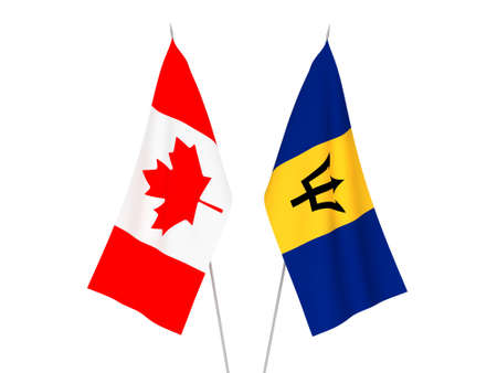 National fabric flags of Barbados and Canada isolated on white background. 3d rendering illustration.