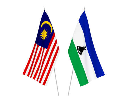 National fabric flags of Malaysia and Lesotho isolated on white background. 3d rendering illustration.