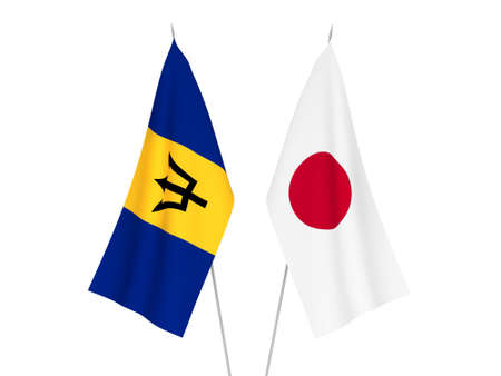 National fabric flags of Japan and Barbados isolated on white background. 3d rendering illustration.