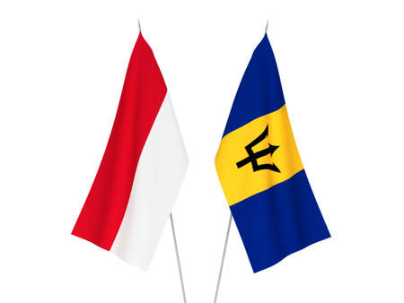 National fabric flags of Barbados and Indonesia isolated on white background. 3d rendering illustration.