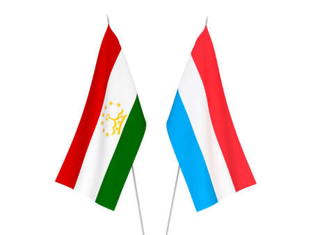 National fabric flags of Luxembourg and Tajikistan isolated on white background. 3d rendering illustration.