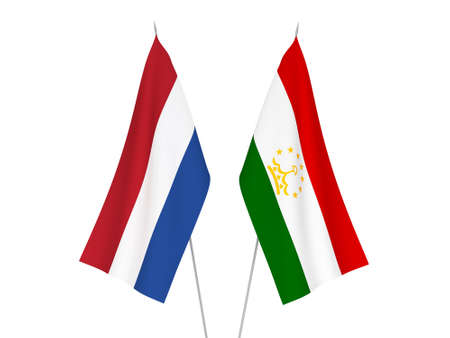 National fabric flags of Netherlands and Tajikistan isolated on white background. 3d rendering illustration.