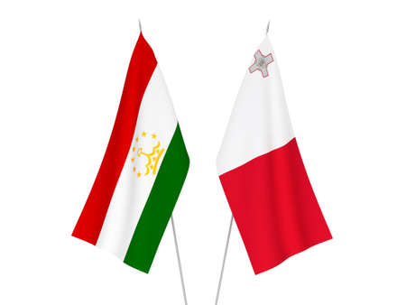 National fabric flags of Tajikistan and Malta isolated on white background. 3d rendering illustration. 版權商用圖片