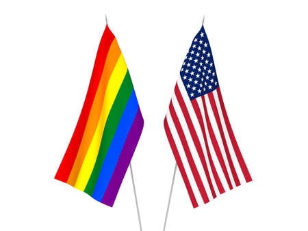 National fabric flags of America and Rainbow gay pride isolated on white background. 3d rendering illustration. 版權商用圖片