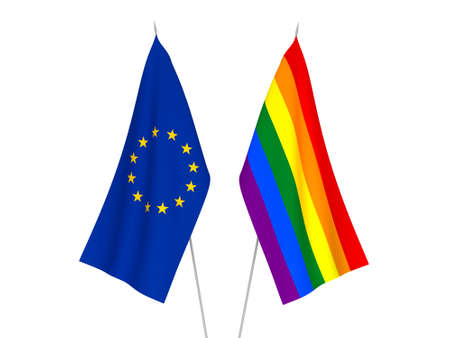 National fabric flags of European Union and Rainbow gay pride isolated on white background. 3d rendering illustration.
