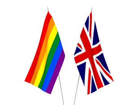 National fabric flags of Great Britain and Rainbow gay pride isolated on white background. 3d rendering illustration.