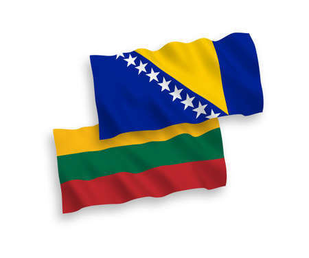 National vector fabric wave flags of Lithuania and Bosnia and Herzegovina isolated on white background. 1 to 2 proportion. 向量圖像