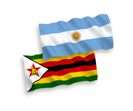National vector fabric wave flags of Zimbabwe and Argentina isolated on white background. 1 to 2 proportion.